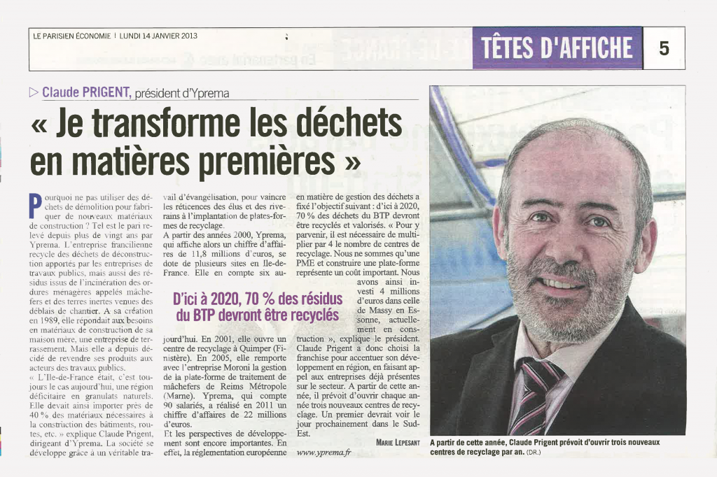 Article sur YPREMA paru dans le Parisien 14-01-2013