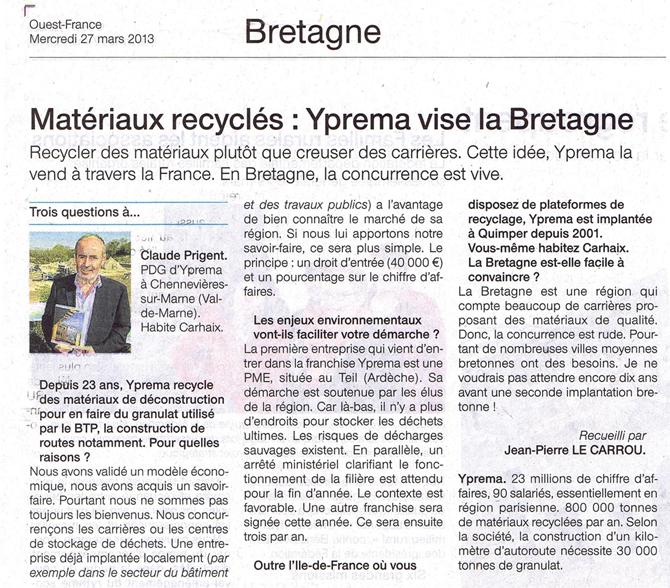 Article sur Yprema dans Ouest France du 27/03