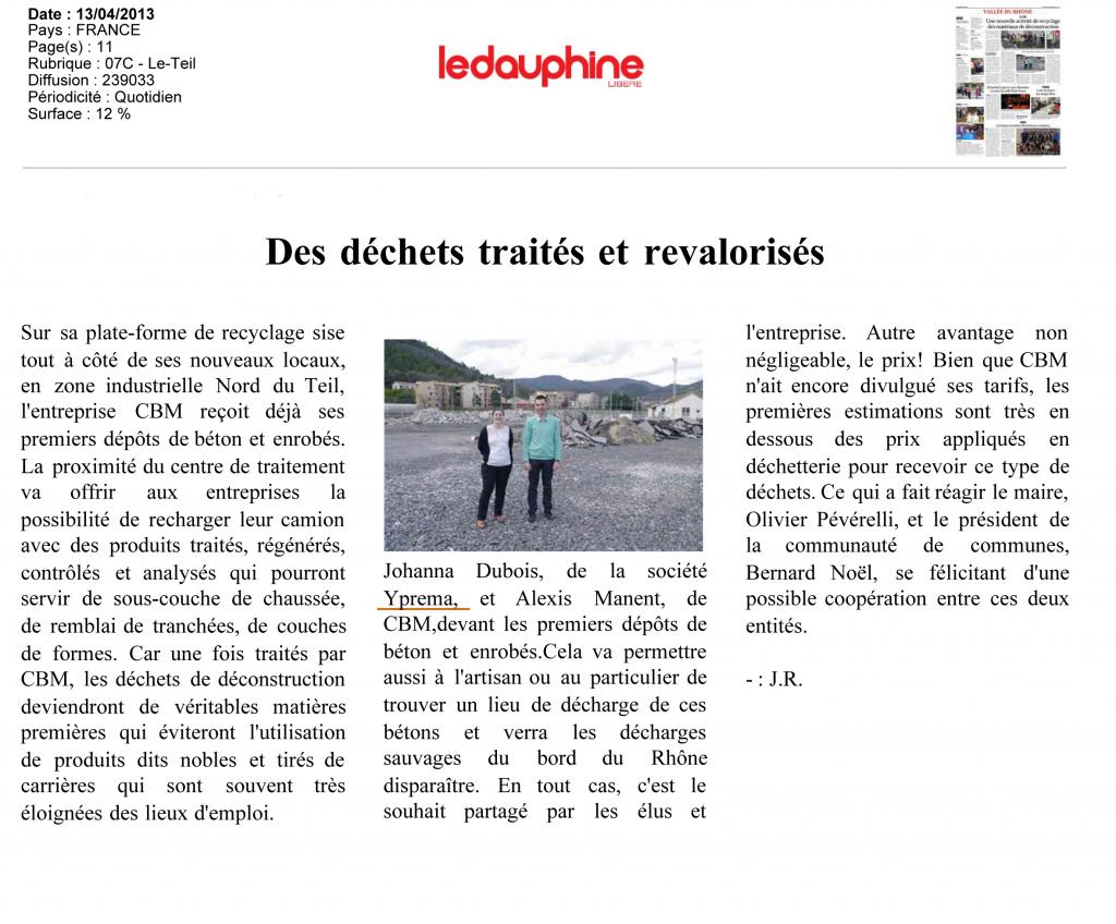 Article Recyclage Le Dauphiné Libéré 13/04/2013 mention YPREMA CBM