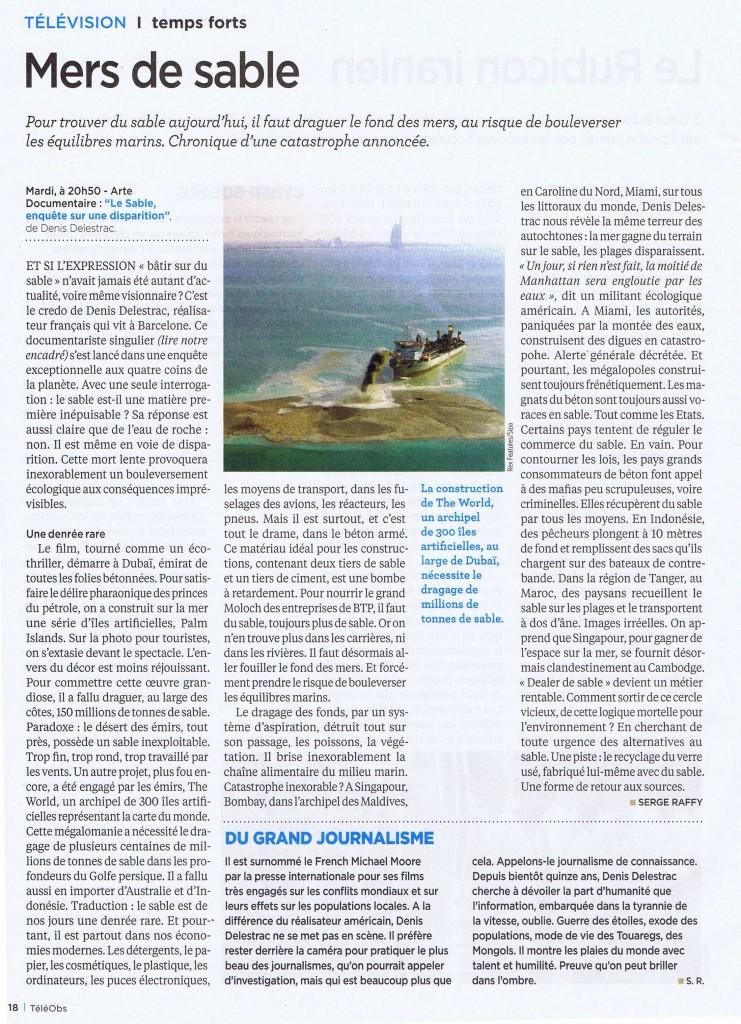 """""""Mer de Sable"""" l'article de  Serge Raffy pour Téléobs sur le reportage d'Arte """"le Sable : Enquête sur une disparition"""""""