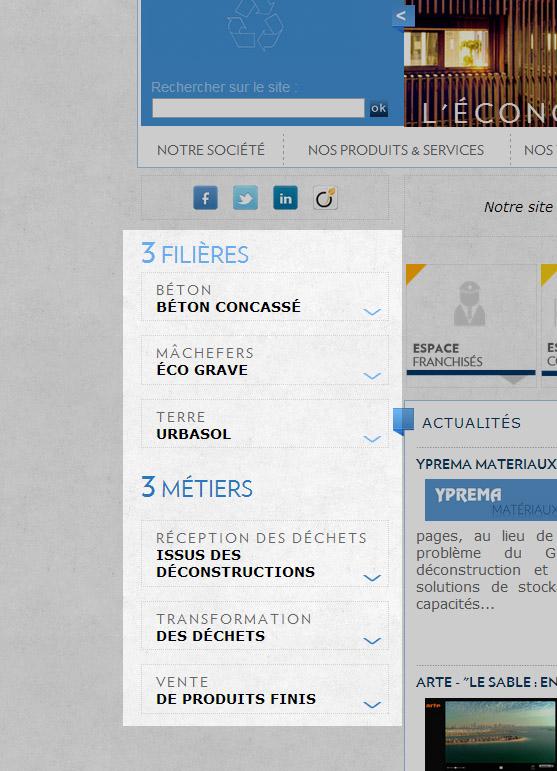 menu gauche du site