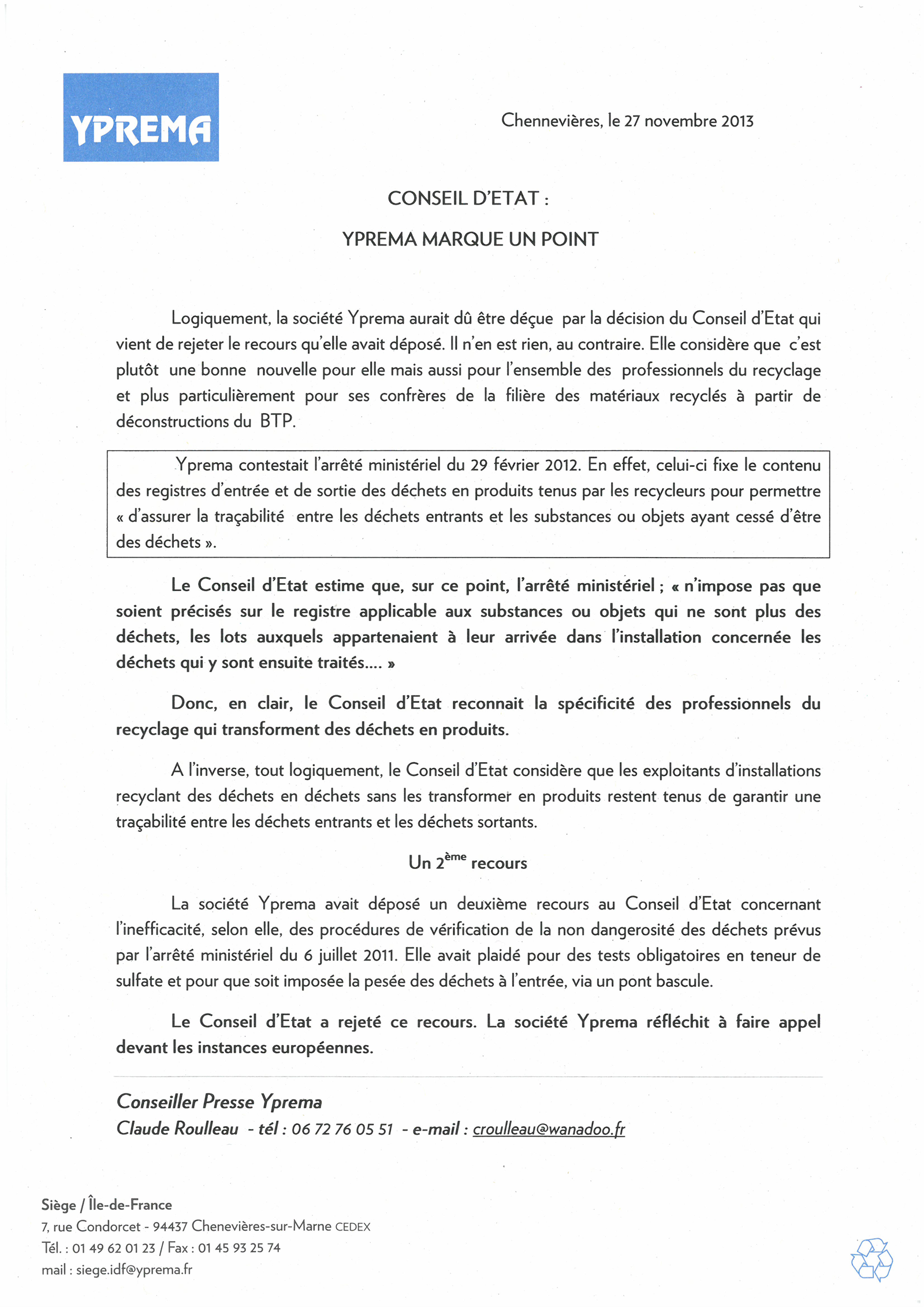 Communiqué 27 11 13 - recours Conseil d'état