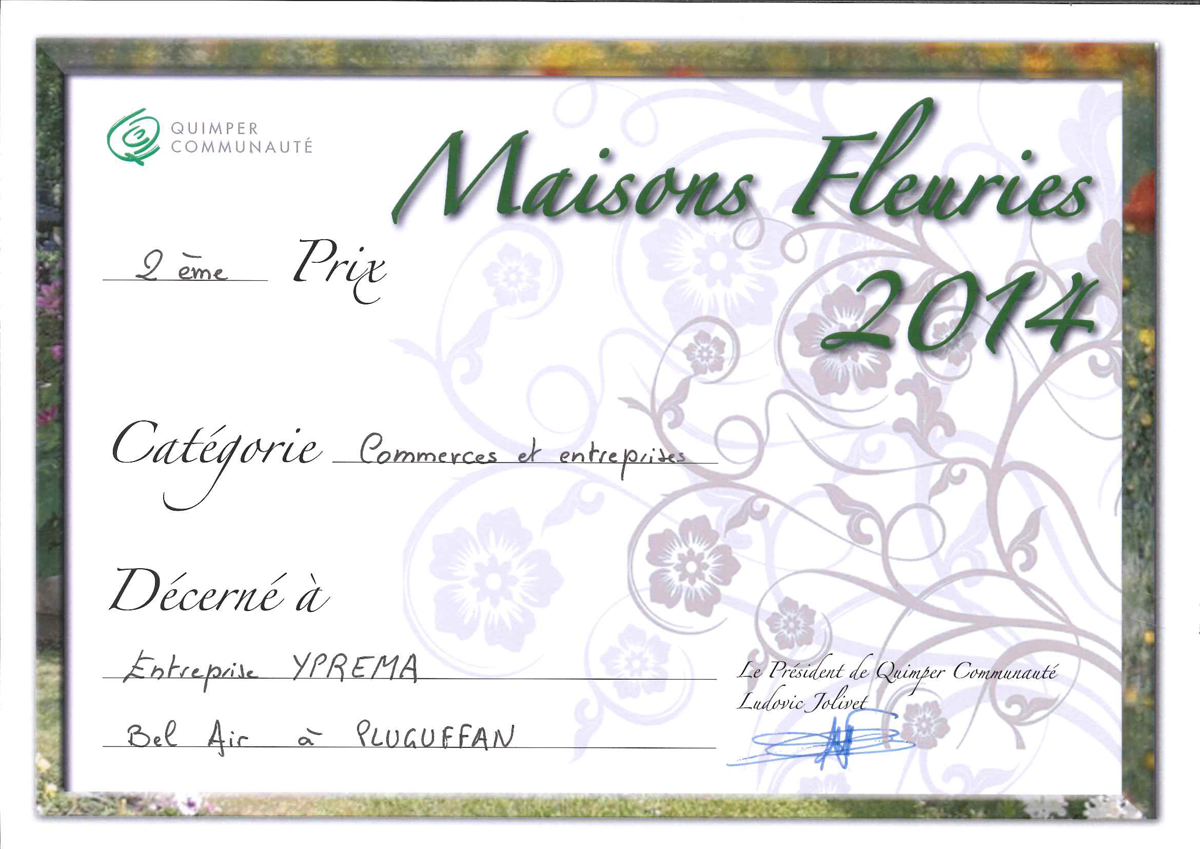 Diplome Jardins Fleuris Quimper Communauté 2014